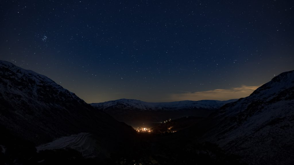 It got dark quick. Night shot of Glenridding below the stars
